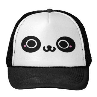 Black White Kawaii Panda Face Trucker Hats