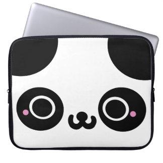 Black White Kawaii Panda Face Laptop Computer Sleeve