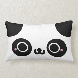 Black White Kawaii Panda Face Lumbar Pillow