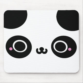 Black White Kawaii Panda Face Mouse Pad