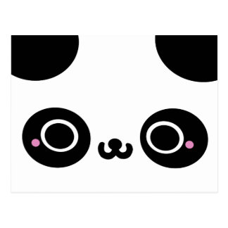 Black White Kawaii Panda Face Postcard