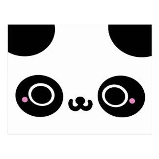 Black White Kawaii Panda Face Postcard