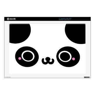 "Black White Kawaii Panda Face Skins For 17"" Laptops"