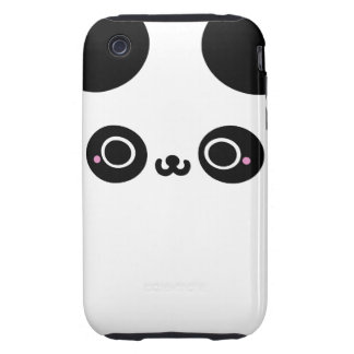 Black White Kawaii Panda Face Tough iPhone 3 Case