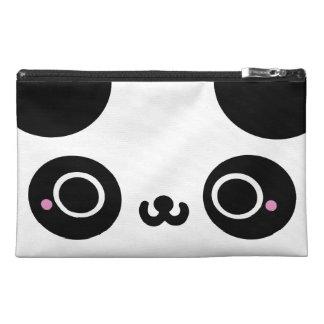 Black White Kawaii Panda Face Travel Accessory Bags