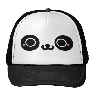 Black White Kawaii Panda Face Trucker Hat