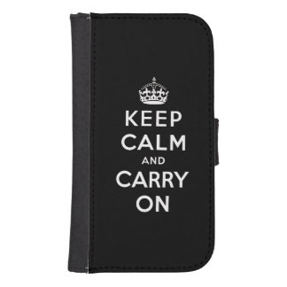 Black White Keep Calm and Carry On Galaxy S4 Wallet Case