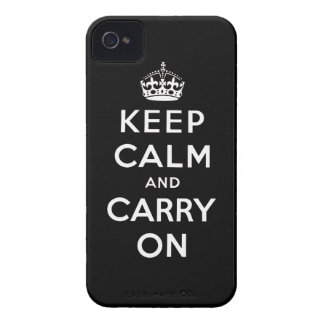 Black White Keep Calm and Carry On iPhone 4 Case