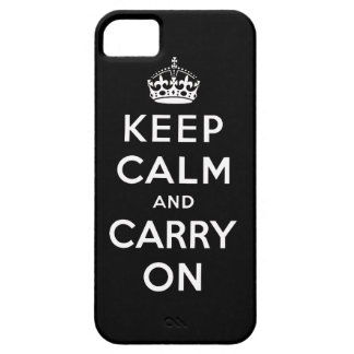 Black White Keep Calm and Carry On iPhone 5 Case
