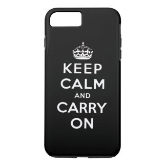 Black White Keep Calm and Carry On iPhone 7 Plus Case