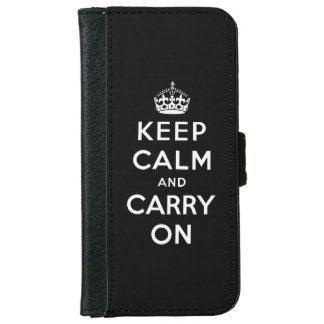 Black White Keep Calm and Carry On Wallet Phone Case For iPhone 6/6s