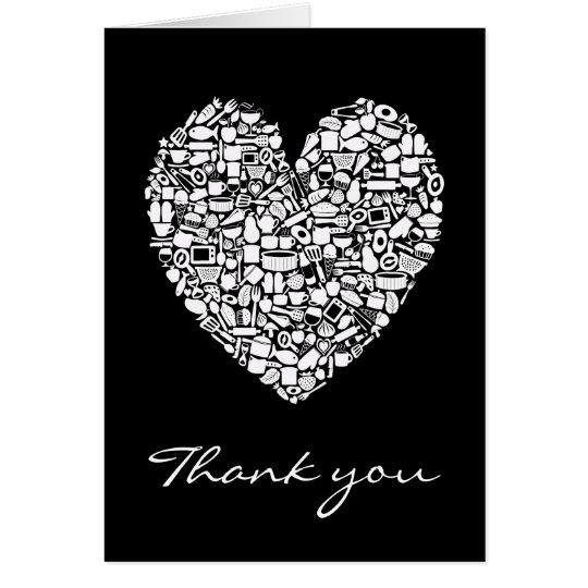 Black White Kitchen Heart Thank You Wedding Card