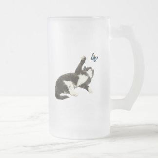 Black & White Kitten Reaching for Butterfly 16 Oz Frosted Glass Beer Mug