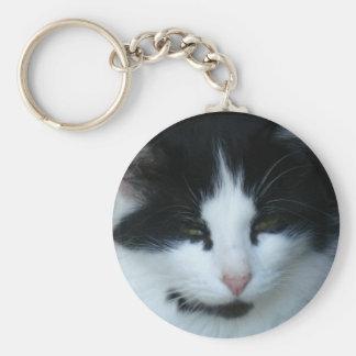Black & White Kitty Cat Keychain