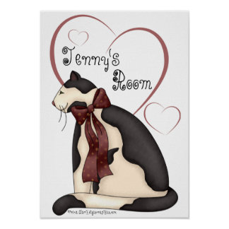 Black & White Kitty Cat w/Hearts Poster