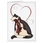Black & White Kitty Cat w/Hearts Valentine Greeting Card