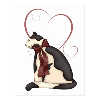 Black & White Kitty Cat w/Hearts Valentine Postcard
