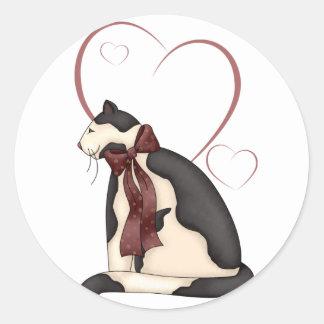 Black & White Kitty Cat w/Hearts Valentine Stickers