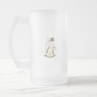 Black & White Kitty w/ Flower 16 Oz Frosted Glass Beer Mug