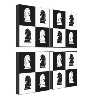 Black & White Knight Chess Board Canvas Print