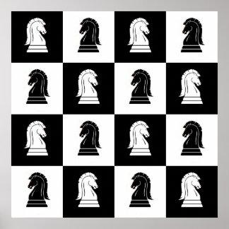 Black & White Knights Chessboard Poster Print