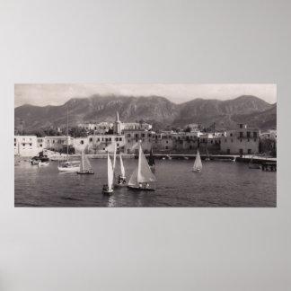 BLACK & WHITE KYRENIA HARBOUR 1950 VIEW POSTER