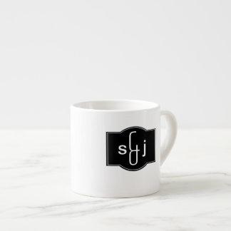 Black White Label Monogrammed Espresso Cup