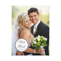 Black White Label Wedding Photo Keepsake Canvas
