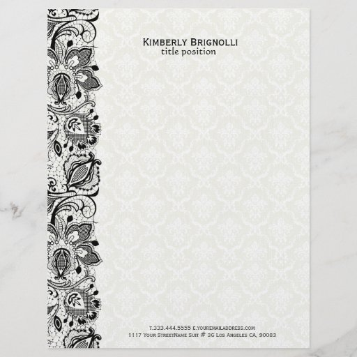 Black & White Lace And Damasks Letterhead