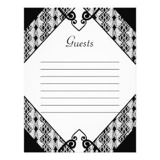 Black & White Lace Elegant Scrolls Wedding Letterhead Design