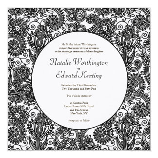 Black & White Lace Monogram Wedding Invite