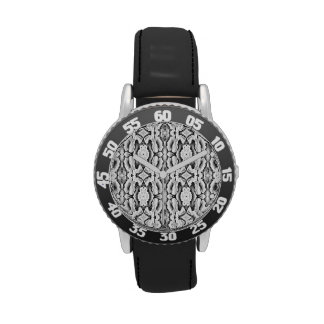 Black White Lace Pattern Watch