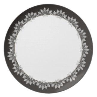 Black & White Lace Tuxedo Wedding Plates