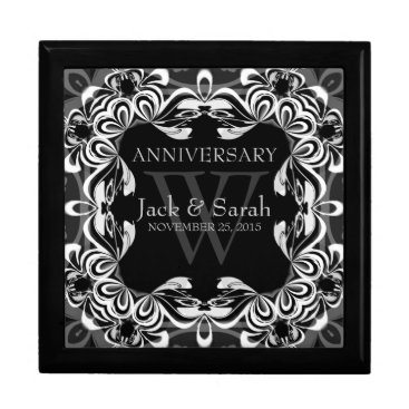 Black White Lace Wedding Anniversary Gift Box
