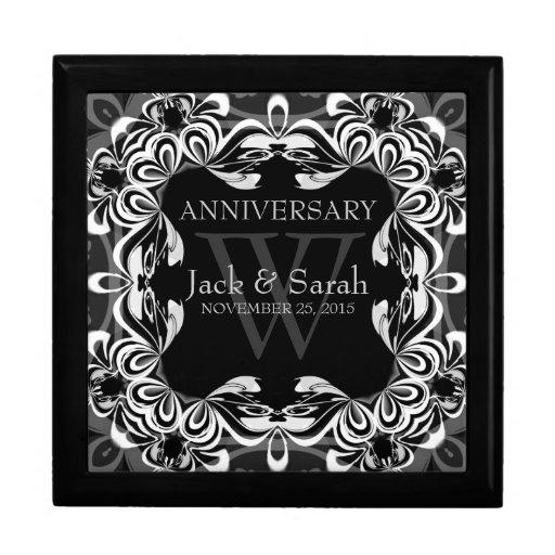 Black White Lace Wedding Anniversary Gift Box