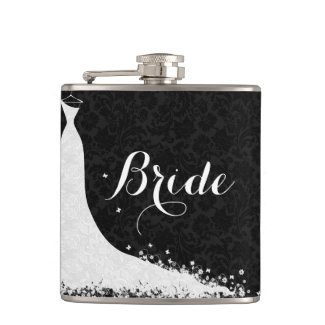 Black White Lace Wedding Dress Bride Flasks