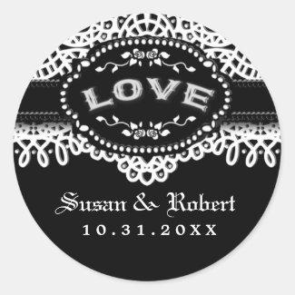 Black White Lace Wedding Gothic LOVE Round Label