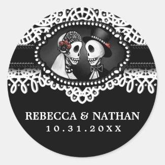 Black White Lace Wedding Skeletons Envelope Label