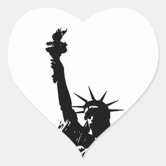 Black & White Lady Liberty Silhouette Heart Sticker