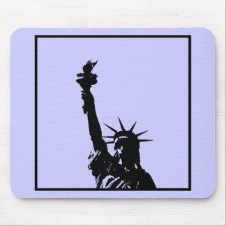 Black & White Lady Liberty Silhouette Mouse Pad