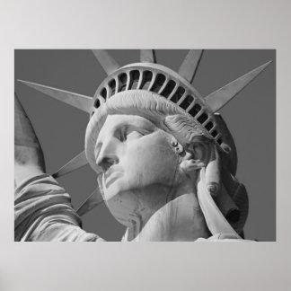 Black & White Lady Liberty Statue New York Poster