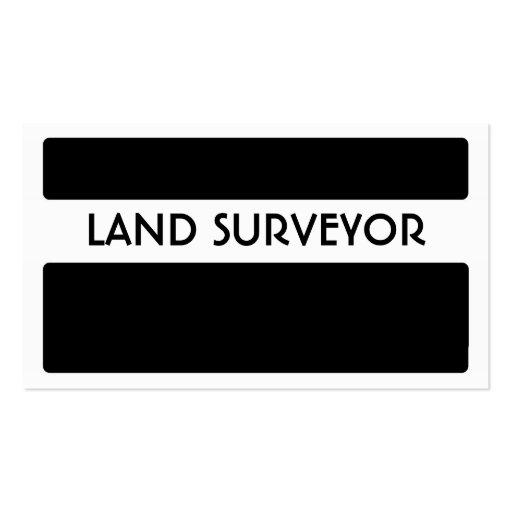 Black white land surveyor simple business cards