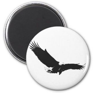 Black & White Landing Eagle Magnet