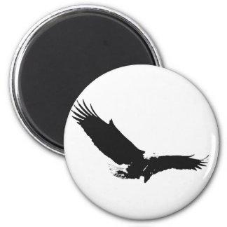 Black & White Landing Eagle 2 Inch Round Magnet