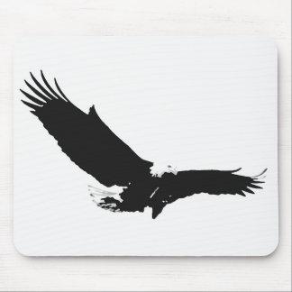 Black & White Landing Eagle Mouse Pad