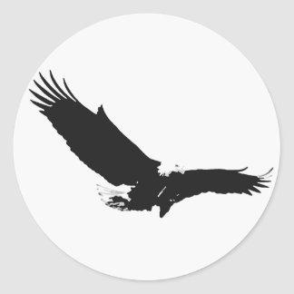 Black & White Landing Eagle Round Stickers