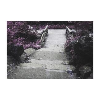 Black & White Landscape Bridge Photo Stretched Canvas Prints
