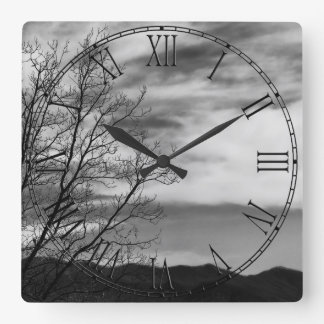 Black & White Landscape Nature Photo Square Wall Clock