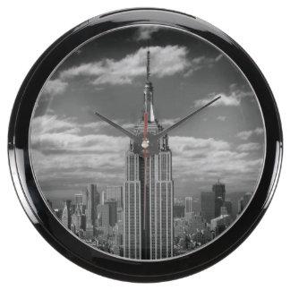 Black & White landscape of New York City skyline Fish Tank Clocks