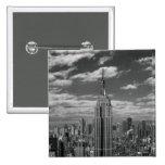 Black & White landscape of New York City skyline Button